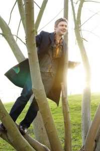 Martin Freeman getting attacked by a tree that's probably about to land on someone's house